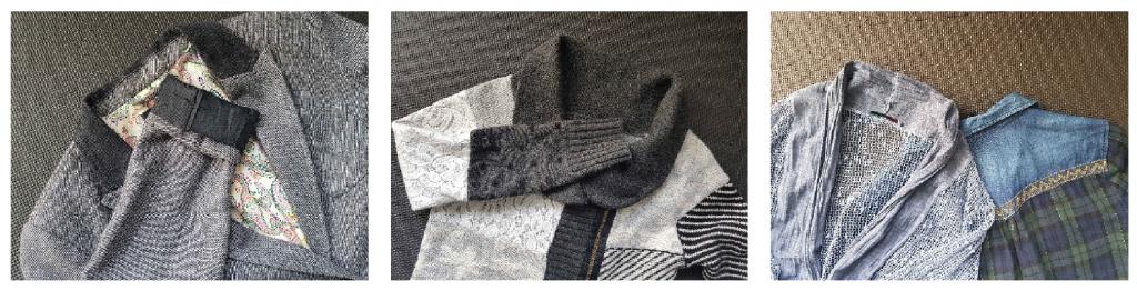 Takkeja ja neuleita, joissa erilaisia materiaaleja