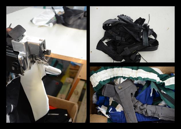 Leikkurilla poistetaan esimerkiksi napit ja vetoketjut vaatteista