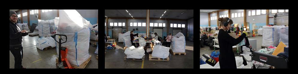 Tekstiilijätettä lajitellaan